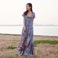 Viven Leigh Ruffle V Neck Floral Print Summer Dress Women Wrap Sash Streetwear Long Maxi Dress