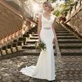 Sencillo Vestido de novia casamento Diseñador Satinado Piso-Longitud vestido Weeding 2017 Vestidos de festa vestidos de novia Sin Espalda