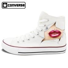 White Converse Chuck Taylor Eye Lip Original Design Custom Hand Painted Shoes Man Woman Sneakers Boys Girls Christmas Gifts
