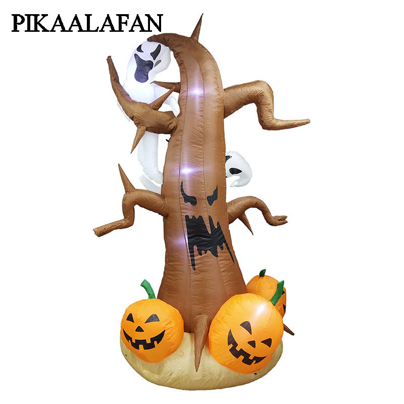 PIKAALAFAN 2.4m Halloween Spirit Ghost Holding Tree Inflatable Model Christmas Costume Party Party Decoration Cosplay цены