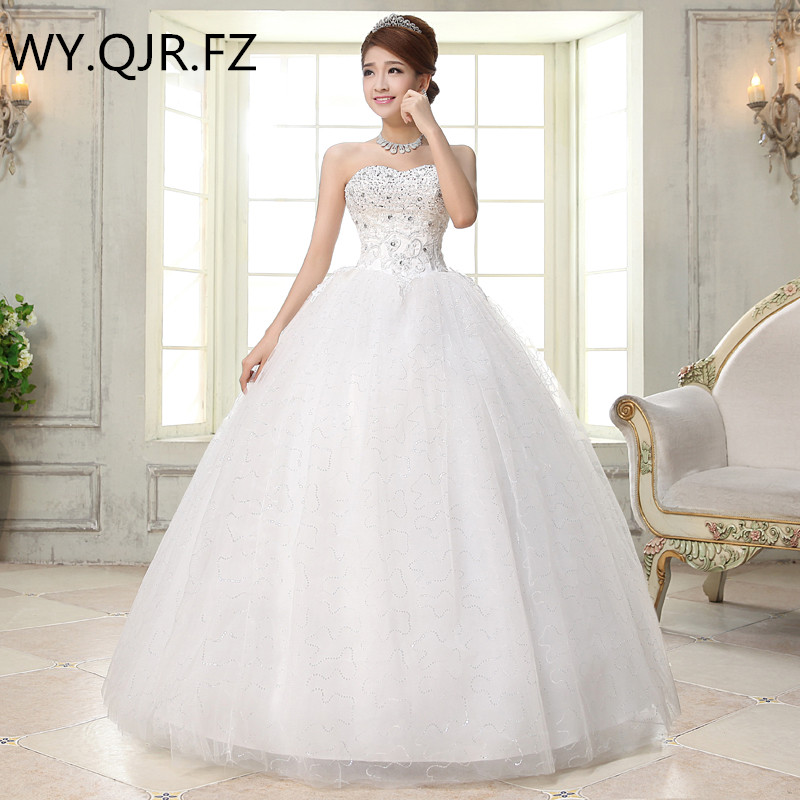 LYG H35 Organza Sequins bride s wedding dress Ball Gown dresses Floor Length twhite cheap Wholesale