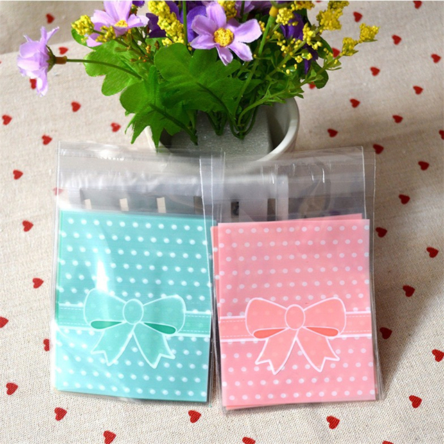 Us 2 99 15 Off 100pcs Lace Bow Print Gifts Bags Christmas Cookie Packaging Opp Self Adhesive Plastic Bags For Biscuits Candy Cake Package In Gift