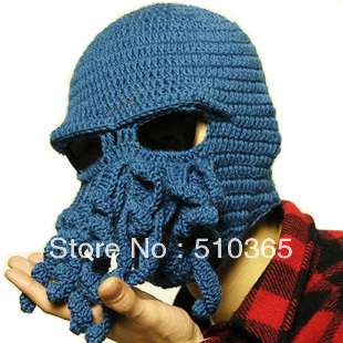 HOT new 2015 unisex hat free shipping Fashion novelty handmade knitting wool octopus