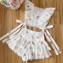 Baogarret Beach Vacation Style Bandage White 2 Piece Set Floral Print Ruffles Short Tops + Shorts Elegant Summer Women Suit