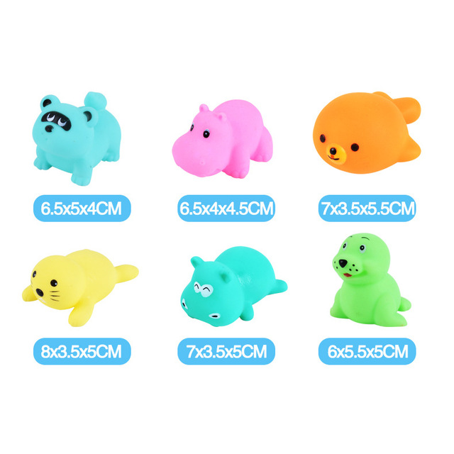 6Pcs/set Cute Soft Rubber Float Squeeze squishy Sound Dabbling Toys Baby Wash Bath Play Animals Toys Bath Toy