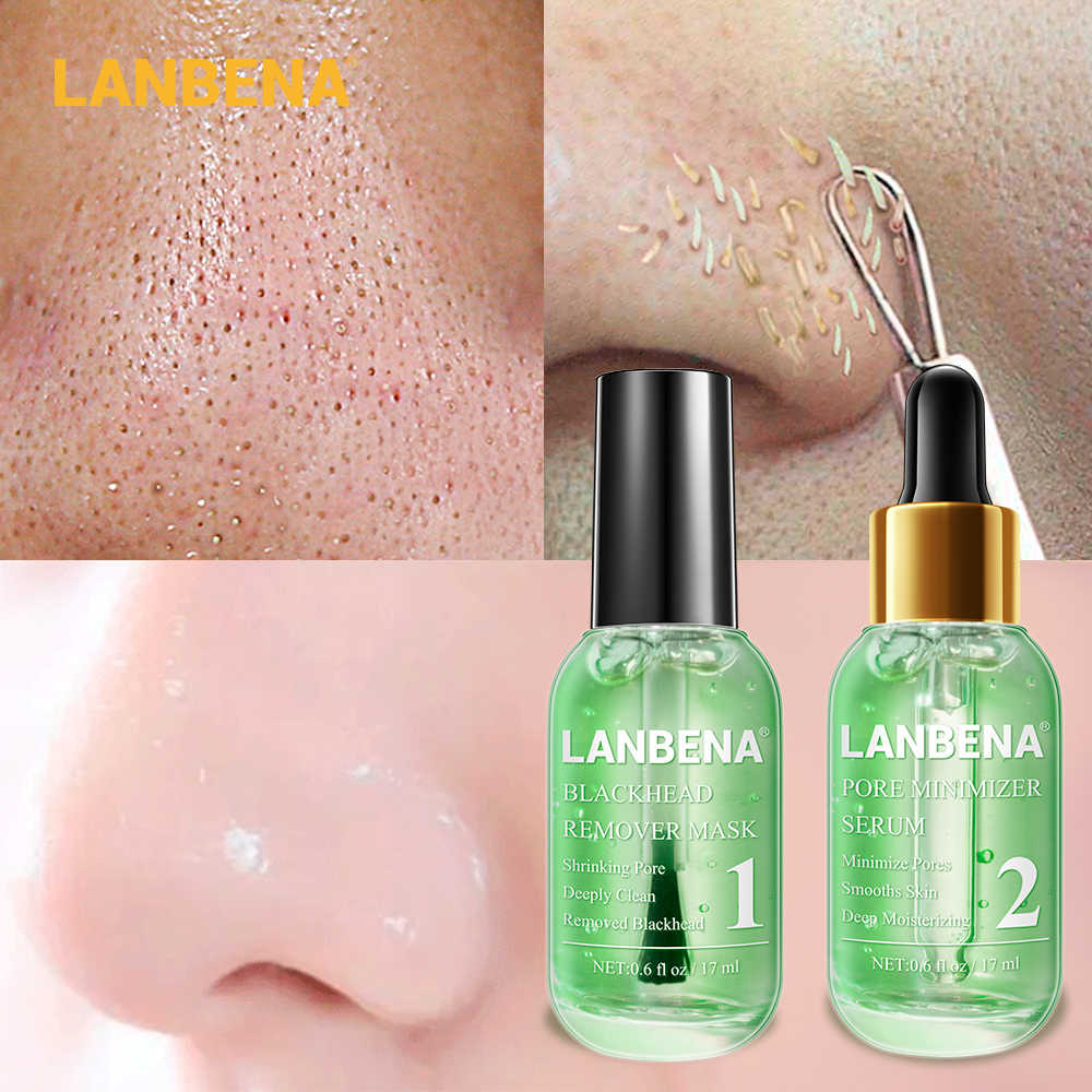 นาฬิกา LANBENA สีเขียวชา Blackhead Remover หน้ากากจมูกรูขุมขน Peeling สิว Pore Minimizer Serum Smoothing Beauty