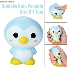 ФОТО 9cm pu cute penguin cartoon scented squishy charm slow rising squeeze toy charm gifts stress relief reliever toy hot sale