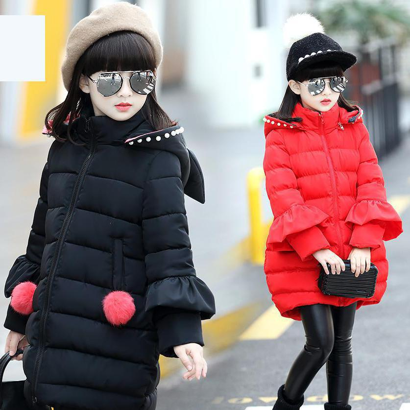 2017 Long Winter Coat Thickening Children Girls Hooded Jackets Fashion Warm Coats Cotton Down Padded Kids Overcoat 11 12 13 14 boy winter coats hot sales children clothing thickening hooded cotton jackets fashion warm baby boy coats clothes outerwear kids