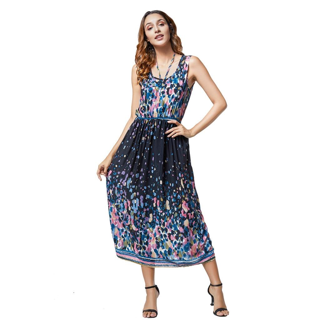 Dress Women Dress Women Jurken Robe Longue Boho Sukienki Ladies 4XL Print Summer Bohemian Sleeveless Wear Both Dress платье Z4