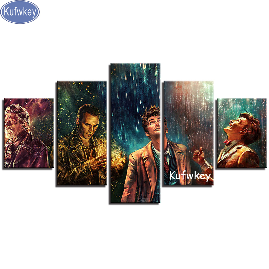 5D DIY Diamond Painting full Square Diamond Embroidery Mosaic 5 Pieces Doctor Who Movie Characters Living Room wall arts sale