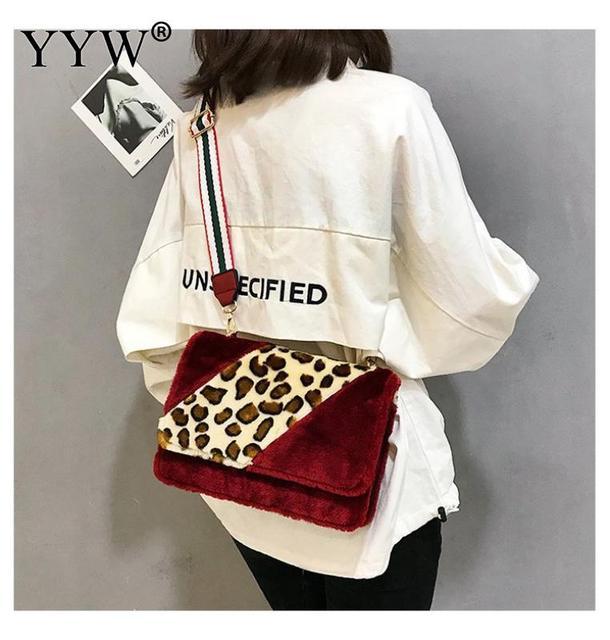 Women Bags Plush Leopard Print Shoulder Bag Hairy High Quality Casual  Messenger Crossbody Bucket Bag Contrast Color Bolsos Red e92f58ed09fe