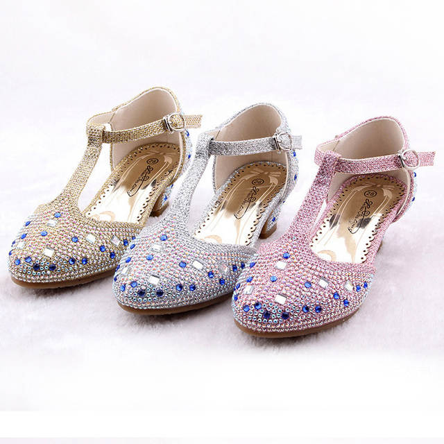 placeholder Crystal Cartoon Image Snow Fairy Girls Shoes Princess Bow  Glitter Baby Girl Shoes Leather High Heels ca05491c0946