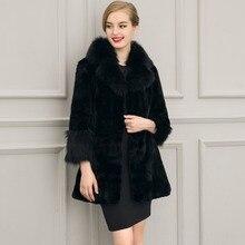 Luxury Elegant women Winter Fake Fur Coats Vintage Artificial Black Faux Fox Fur Coat fashion Ladies faux fur coat jacket