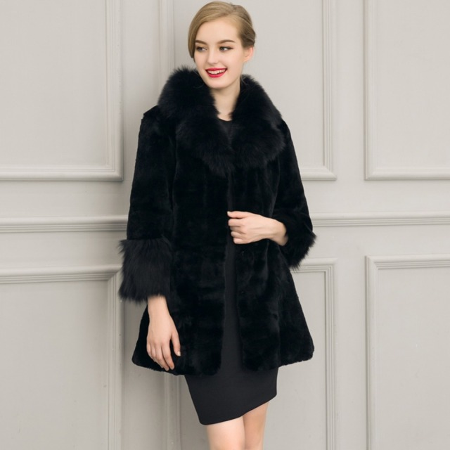 d45e74f3ac6 Luxury Elegant women Winter Fake Fur Coats Vintage Artificial Black Faux  Fox Fur Coat fashion Ladies