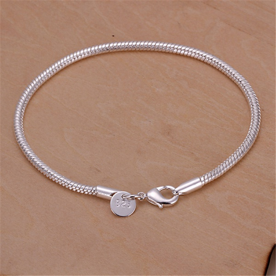 Женский серебряный браслет-цепочка, 3 мм, змеиная змея, высокое качество, модные ювелирные изделия, рождественские подарки