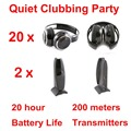 Silent Disco compete system black folding wireless headphones - Quiet Clubbing Party Bundle (20 Headphones + 2 Transmitters)