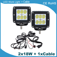 2 Pieces 3 Inch Led Work Light 18w Led Pod Light 1 Piece Wire Harness With