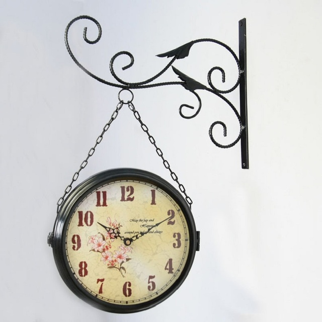 home decor double sided wall clock watch vintage large wall clock digital retro clocks wrought iron
