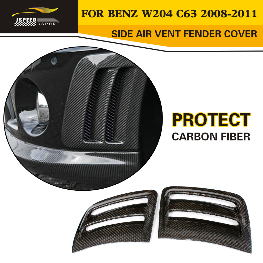 Car Styling Carbon Fiber Side Air Vent Fender Cover Trim for Benz W204 C63 Bumper 2008-2011 epr car styling for nissan skyline r33 gtr type 2 carbon fiber hood bonnet lip