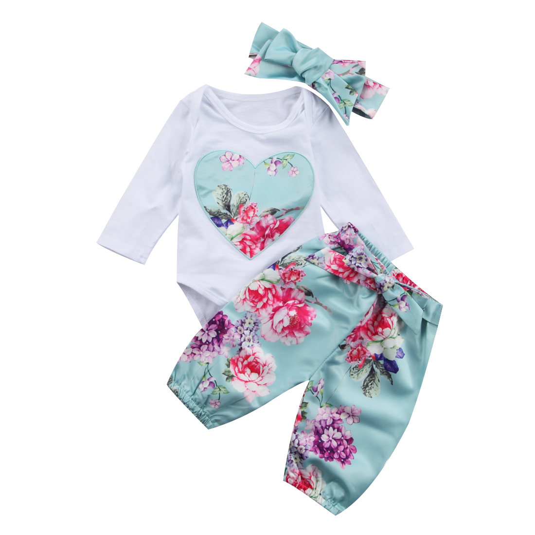 Baby Girls Clothing Sets Autumn Love heart Floral Newborn Baby Girls Clothes Long Sleeve Romper Jumpsuit Pants +headband Outfits baby girls butterfly long sleeve romper newborn kids 2017 new arrival button jumpsuit outfits clothing for newborns age 3m 3y