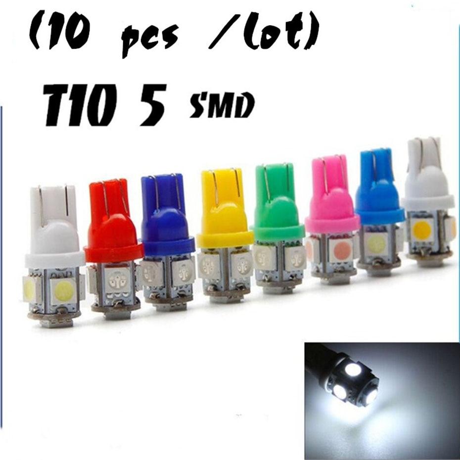 10Pcs T10 194 W5W 5730 LED 2SMD White Car Side Wedge Light License Plate Bulbs