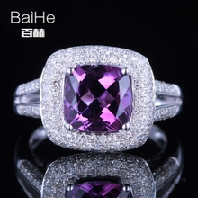BAIHE Solid 14K White Gold(AU585)2.3CT Certified Cushion Flawless 100% Genuine Amethyst Wedding Women Wedding Fine Jewelry Ring