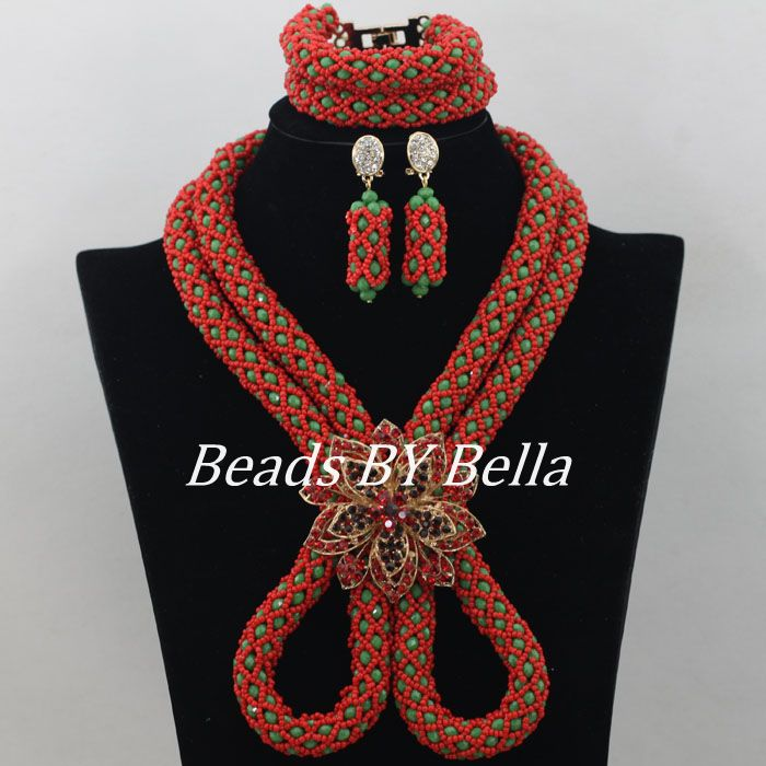 New Red Green Nigerian Wedding Beads African Jewelry Set Crystal Beads Necklace Indian Bridal Jewelry Sets Free Shipping ABF169New Red Green Nigerian Wedding Beads African Jewelry Set Crystal Beads Necklace Indian Bridal Jewelry Sets Free Shipping ABF169