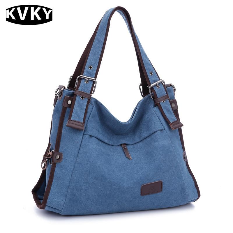 KVKY Vintage Woman Canvas Bag Women Canvas Shoulder Bag For Woman Handbags Bolsa Feminina Vintage Messenger Bag Travel Bag WH479