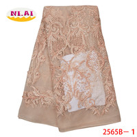 2019 High Quality Tulle Lace Material African Lace Fabric Handmade Beads African French Wedding Lace Fabric For Dress XY2565B 1