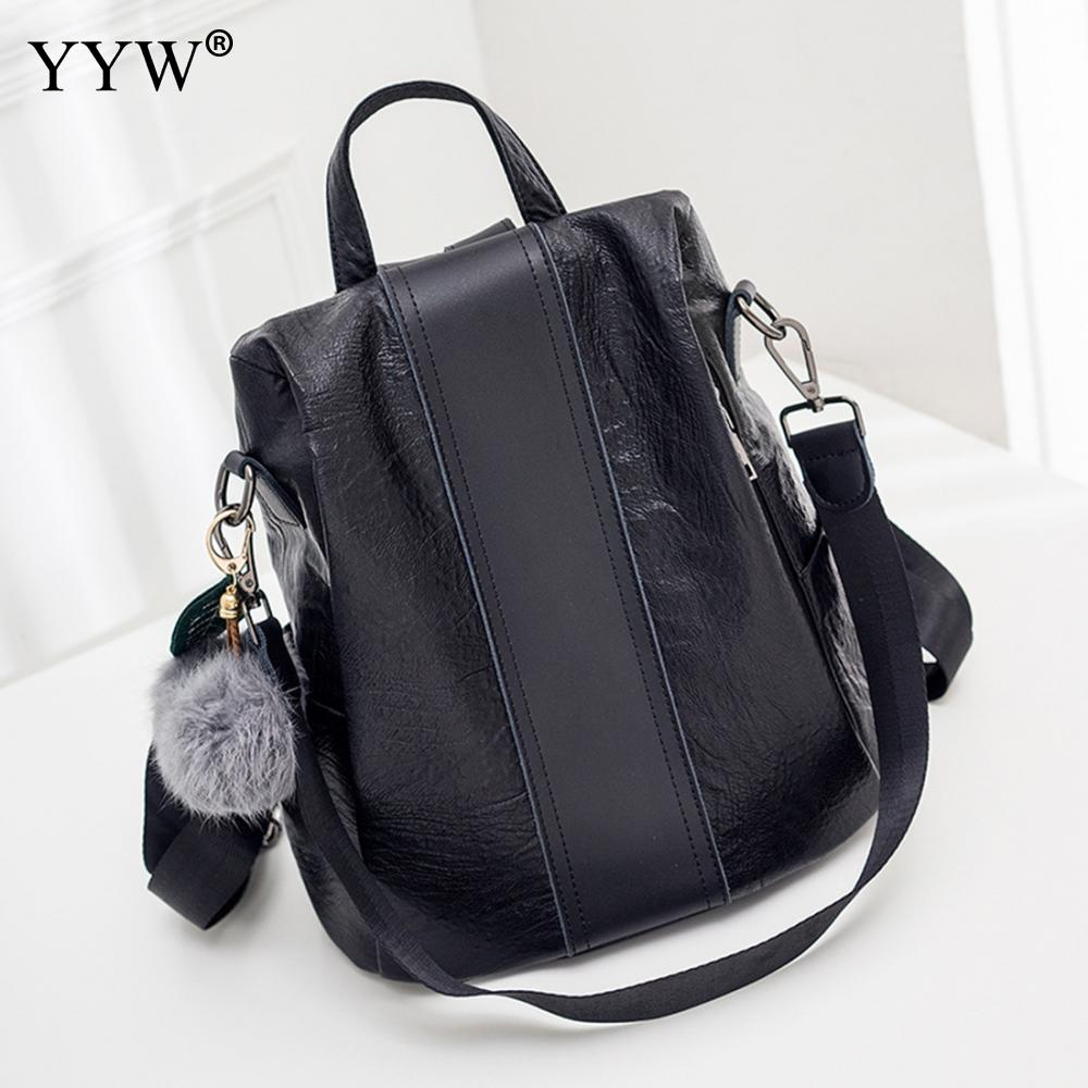YYW Pu Leather Women Black Backpack Fashion Backpack Designers Brand Laptop Backpack High Quality School Travel Backbag For Girl