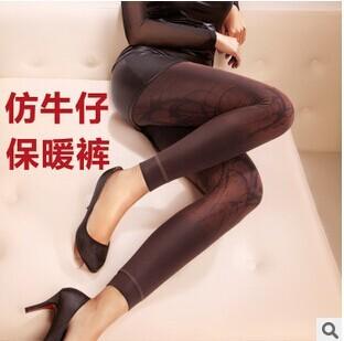 Бесплатная доставка 2014 Зима добавить шерсть имитация ковбой леггинсы расстроен женский показать тонкие теплые штаны упругие брюки