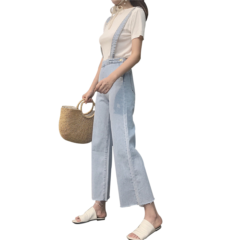 2018 summer rompers sexy womens jeans jumpsuit v neck sleeveless dungarees bodycon washed white pockets long denim apparel club