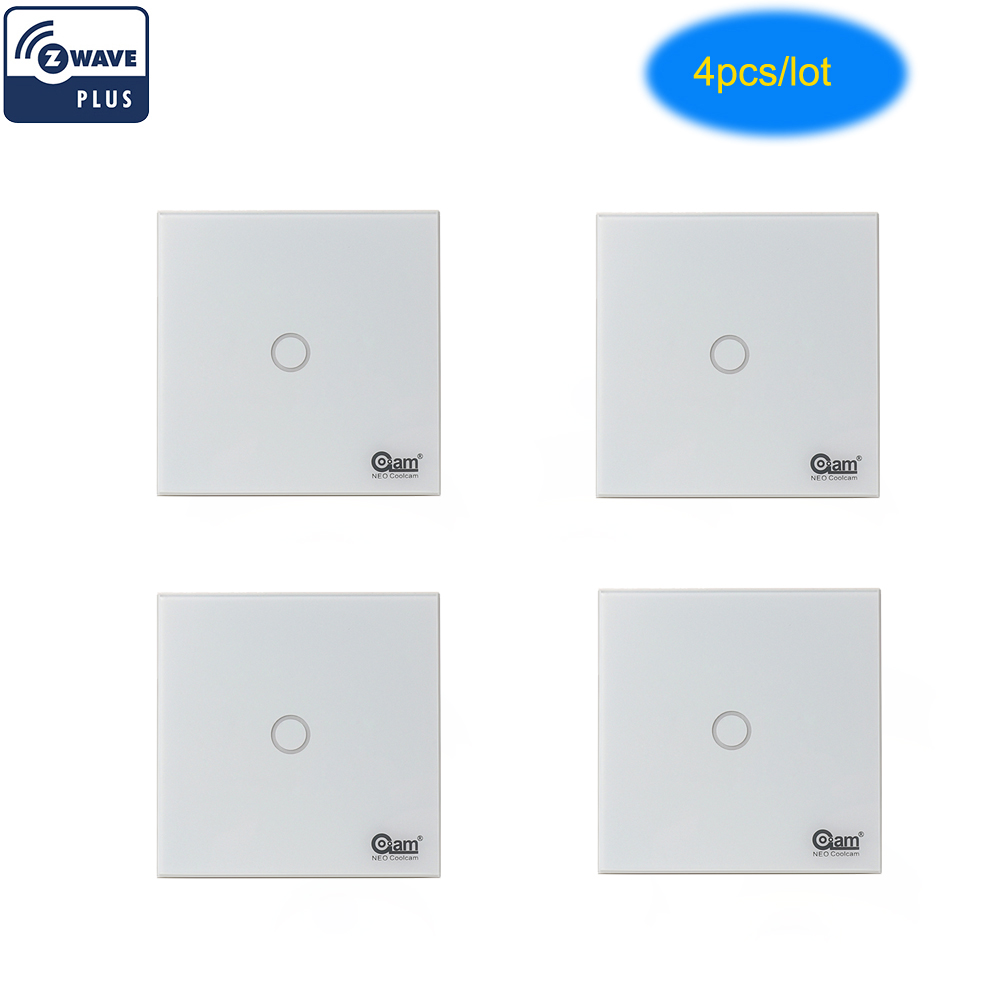 Coolcam 4PCS/Lot Z-wave Light Switch 1 Gang In-Wall Touch Panel Smart Home Device 1CH Home Automation Z Wave Plus Wireless