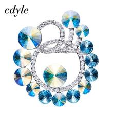 Cdyle Crystals From Swarovski Brooches Women Austrian Rhinestone Fashion Jewelry Elegant Luxury Blue Retro Vintage Christmas New