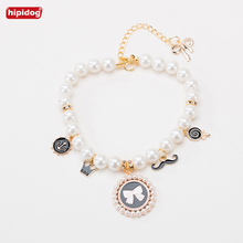 Hipidog New Dog Cat Adjustable Collars Sweety Style Pearl Necklace Small Kitten Supply Pet With Bells Decoration