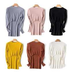Модная одежда для беременных-осень и зима беременных Для женщин дна свитер с воротником-стойкой Тонкий кормление грудью вязаный свитер