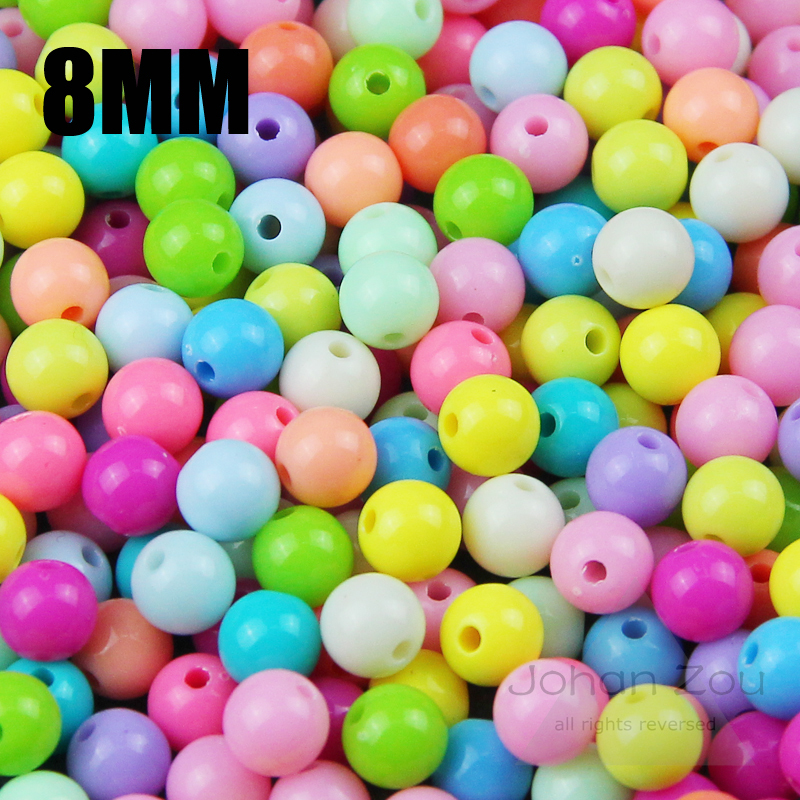 JHNBY Высокое качество 100 шт. смешанные конфеты светлый цвет акриловые кремовые бусины неоновые Гладкие Круглые свободные бусины подходят ювелирные изделия ручной работы 8 мм