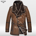 B3 fur one piece genuine leather cashmere motorcycle clothing pilot  jacket coat with leather gloves