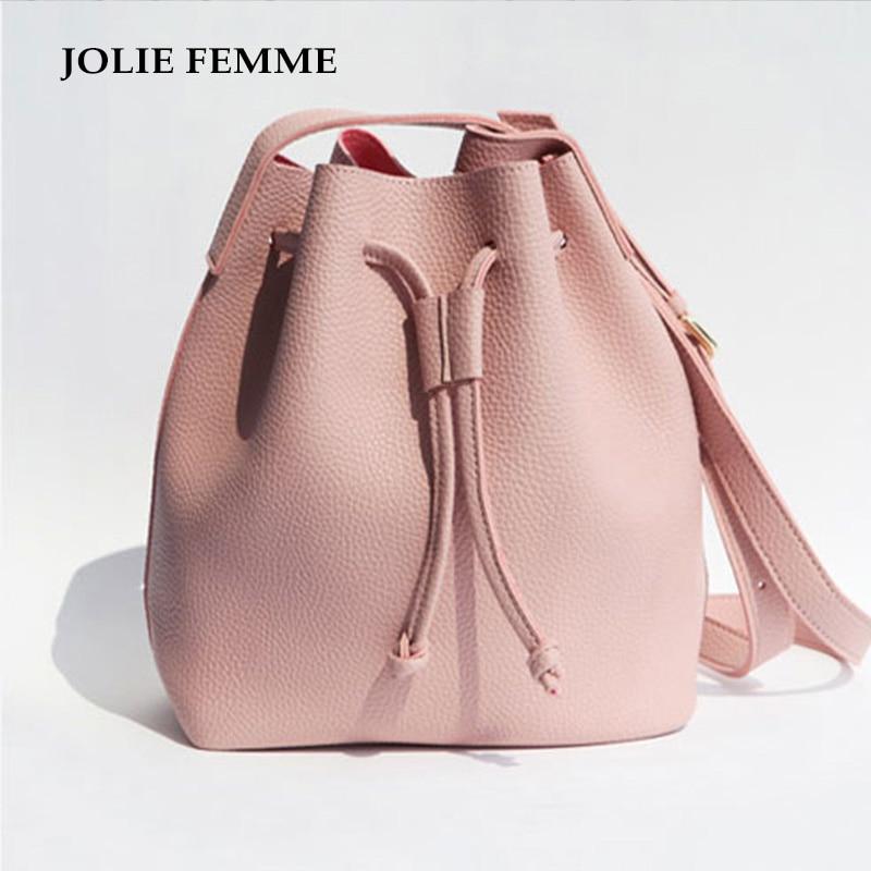 Girls Cute Korean Bags Bucket Leather Shoulder Sling Bags For Women Drawstring