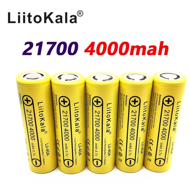 LiitoKala Lii-40A 21700 4000mah Li-Ni Battery 3.7V 40A for Electronic Cigarette Mod / Kit 3.7V 30A power 5C Rate Discharge liitokala max 40a pulse 60a discharge original 3 6v 18650 us18650 vtc5a 2600mah high drain 40a battery for sony for e cigarette