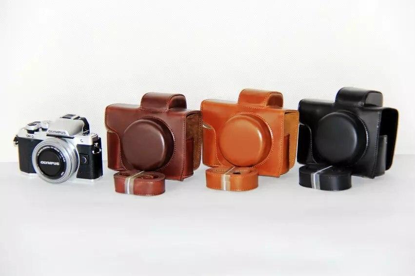 Pu Cuir Camera Case Pour Olympus OM-D E-M10 Mark III EM10III EM10 III objectif court 14-42mm Lentille Caméra Sac de Couverture Avec la Courroie