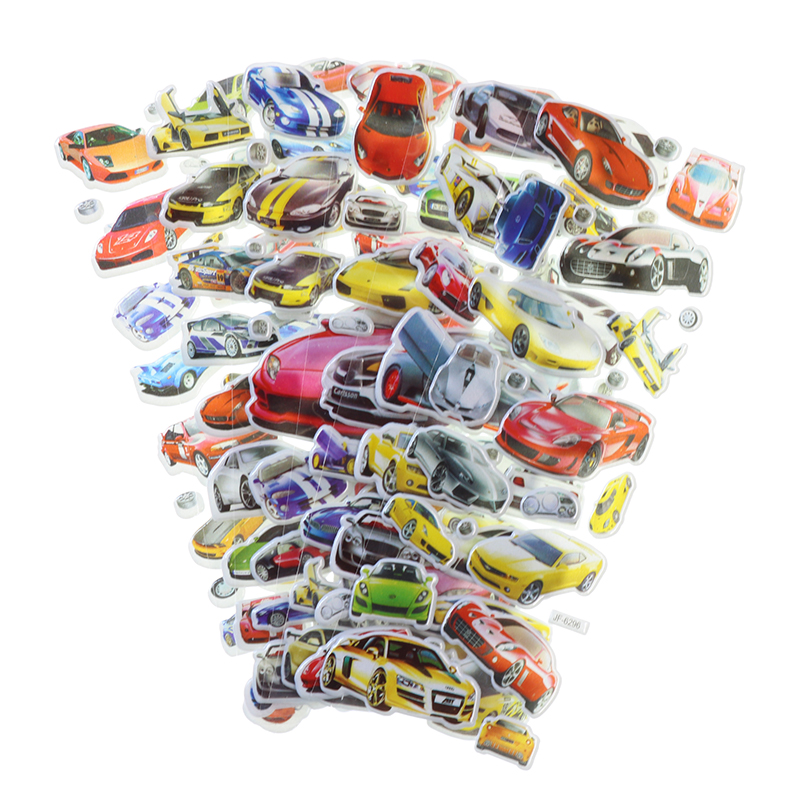 10pcs Creative Cartoon Car Bubble Stickers Cute 3D PVC Mobile Phone Album Decoration Gift Stickers Children Stationery Stickers