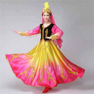 Image 3 - Синьцзянские костюмы, Национальный костюм, открытая юбка качели, уйгурская танцевальная одежда, Женская танцевальная юбка, квадратный костюм