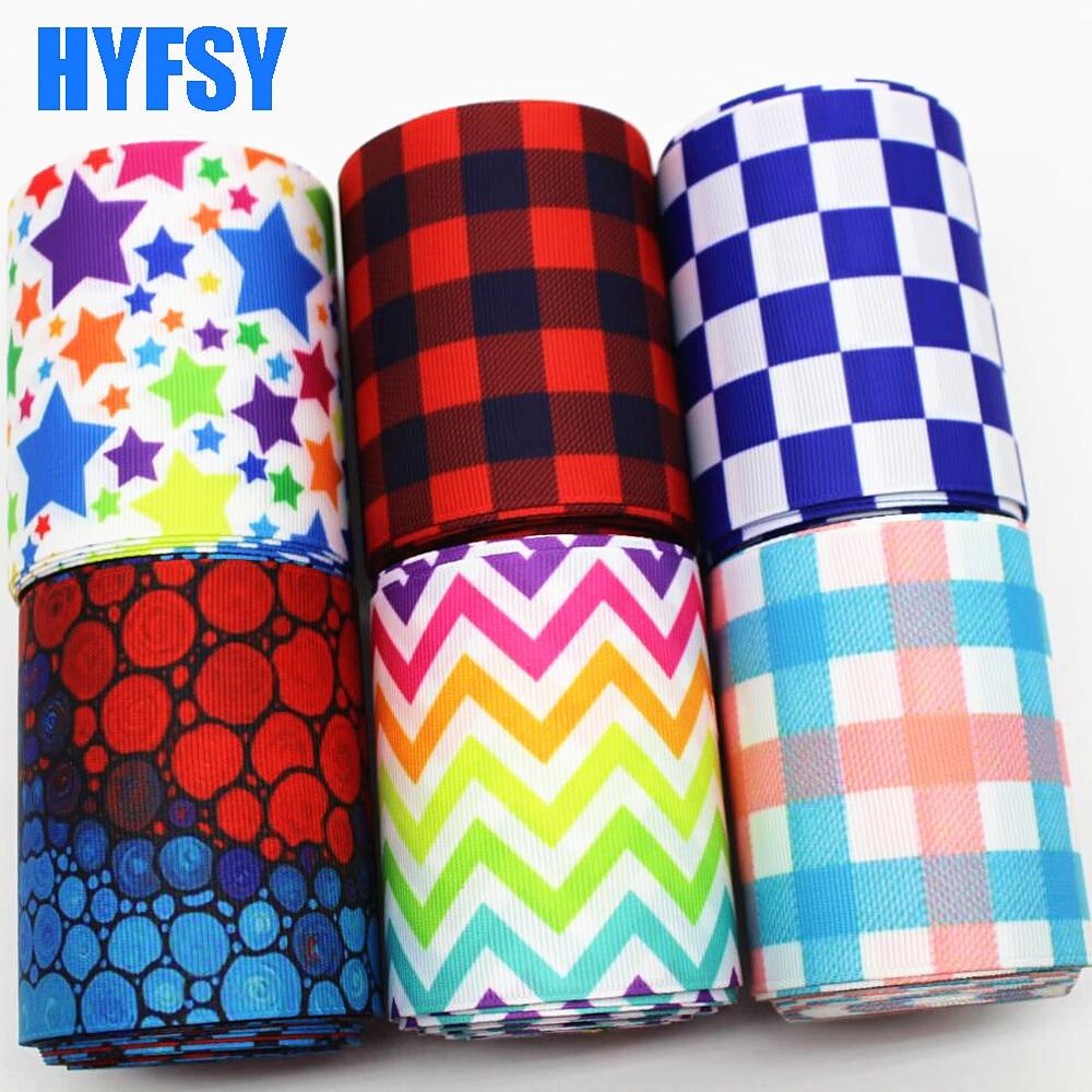 Hyfsy 10081 75 мм плед лента 10 ярдов DIY подарочная упаковка головной убор материал ленты в крупный рубчик