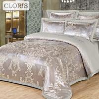 CLORIS RU Luxury Royal Bedding Set Stain Jacquard Cotton Double King Queen Size Bedsheet set Duvet Cover Fit sheet Pillowcases