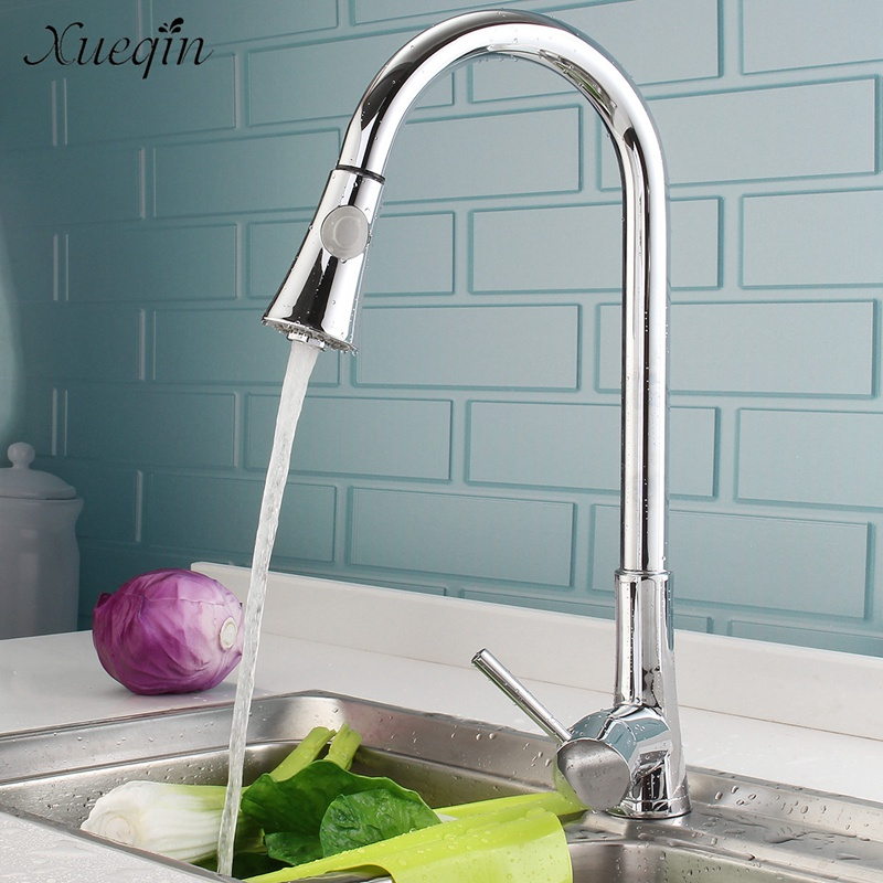 Xueqin Brass Swivel Spout Pull Out Kitchen Sink Water Faucet Mixer Tap Chrome Polished Single Cold