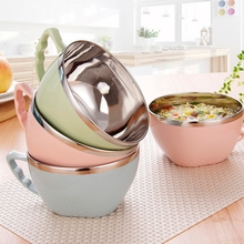 Noodle-Bowl Handle Kitchen Tableware Food-Container Stainless-Steel Kids with Lightweight