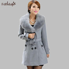 Plus Size M-5XL Winter Coat Women 2017 New Fashion Slim Big Fur Collar Double-Breasted Female Woolen Coat 5 Styles E0664(China)
