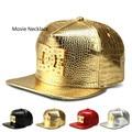 2017 Crocodile Grain Tide Pattern PU Baseball Cap Letters Flat Brimmed Hat Hip Hop hat Men Street Leather Snapback Bone Hat Caps