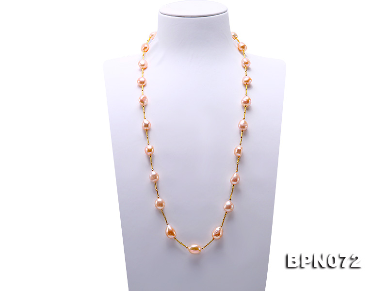 все цены на Natural Baroque Pearl Jewellery Pink Color 11-12MM Freshwater Pearl Necklace 50cm Charming Women Gift Birthday Gift Jewellery онлайн